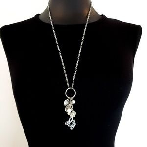 Guess Necklace Multi Charms Pendant Silver Tone